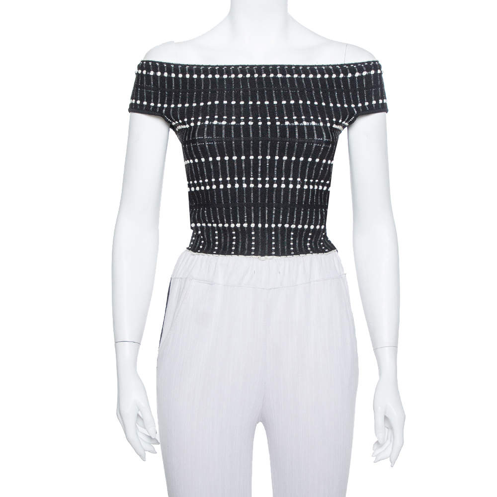 Alexander McQueen Monochrome Knit Boucle Detail Off Shoulder Crop Top M