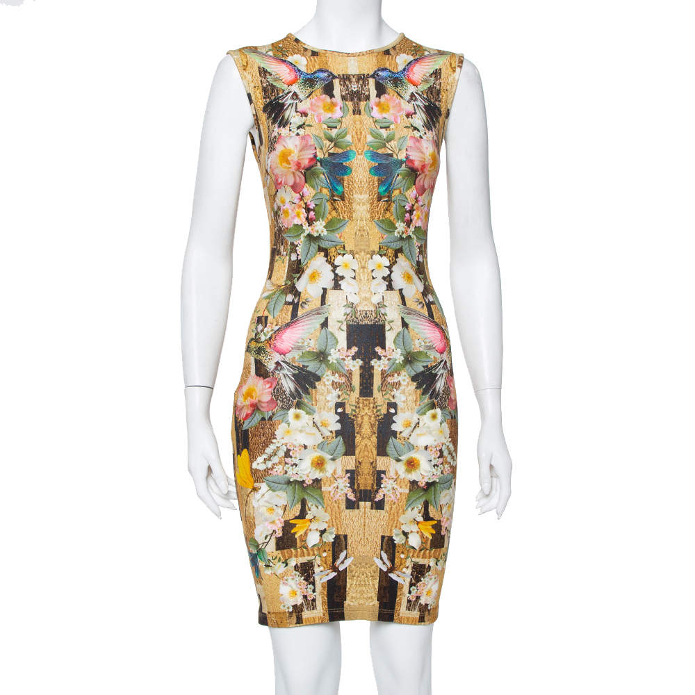 Alexander McQueen Multicolor Dragonfly Printed Knit Sleeveless Sheath Dress S