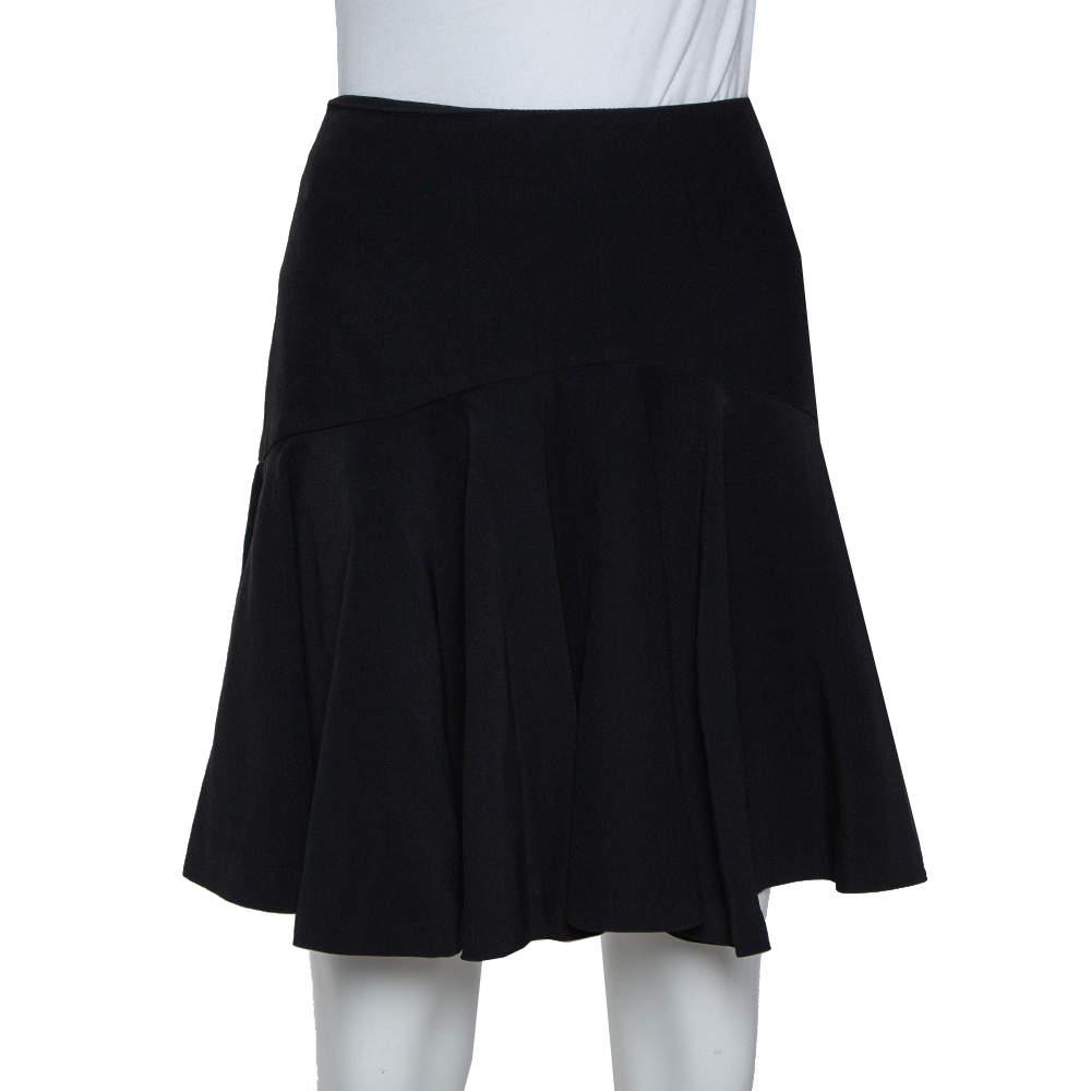 Alexander McQueen Black Crepe Skater Mini Skirt M