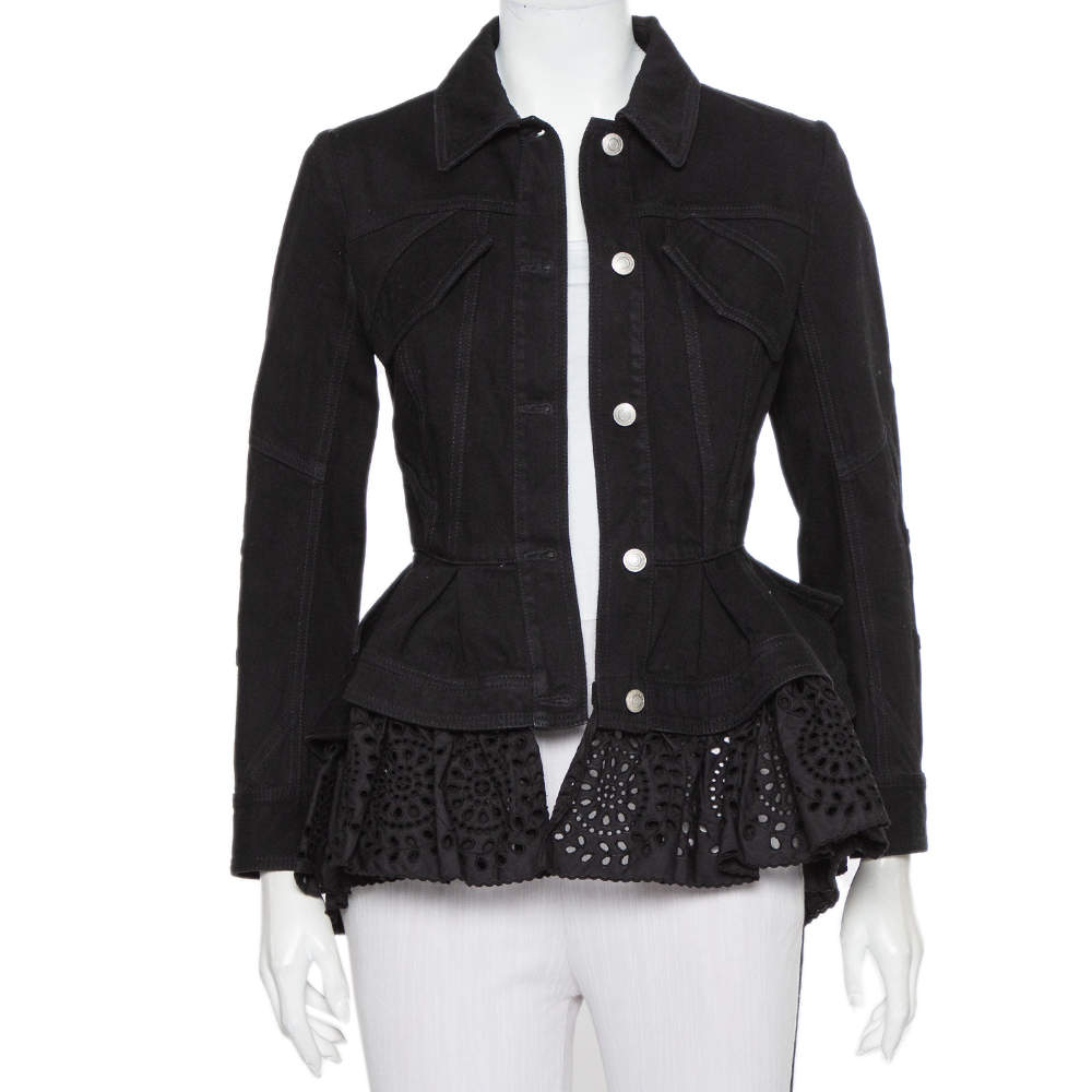 Alexander McQueen Black Denim & Embroidered Lace Peplum Jacket S