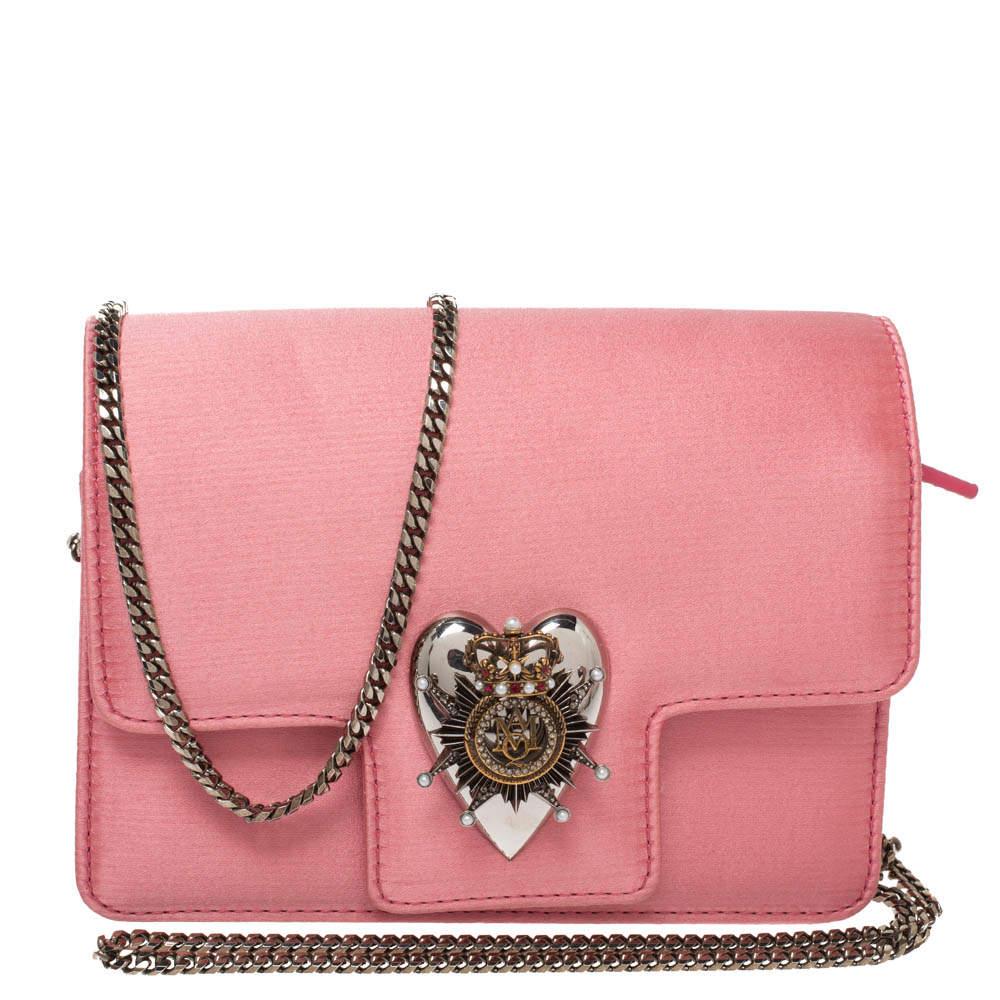 Alexander McQueen Pink Satin Mini Heart Chain Bag
