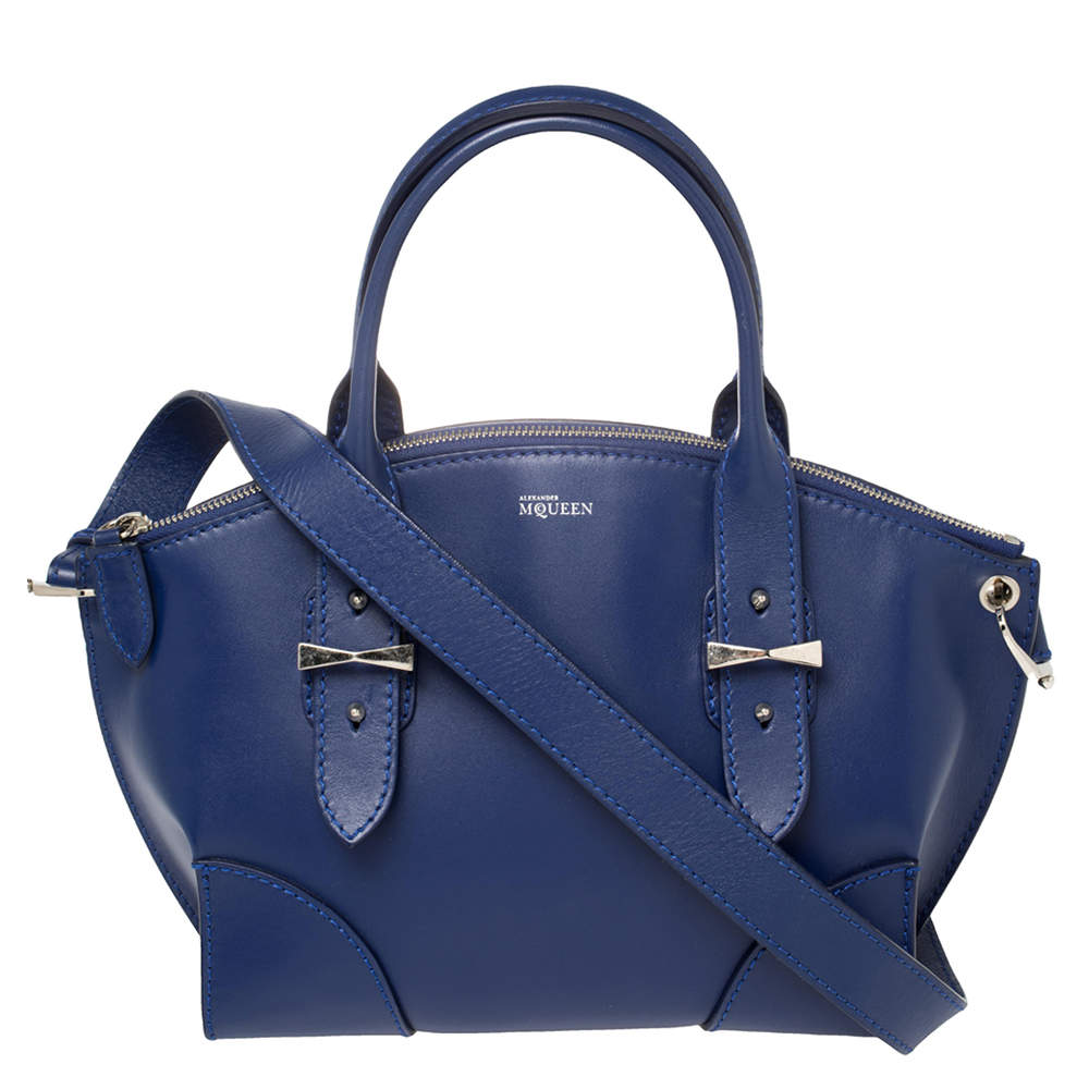 Alexander McQueen Blue Smooth Leather Small Legend Satchel