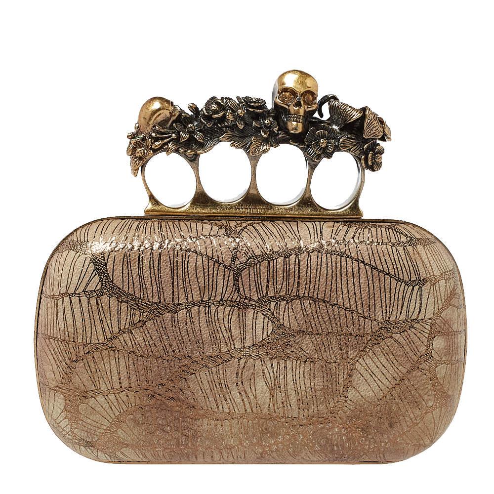 Alexander McQueen Metallic Gold/Beige Leather Skull Knuckle Box Clutch