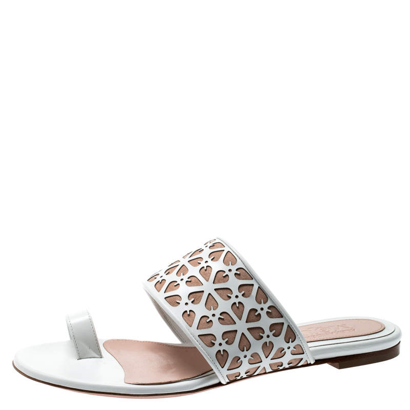 Suede Toe Ring Flat Sandals Size