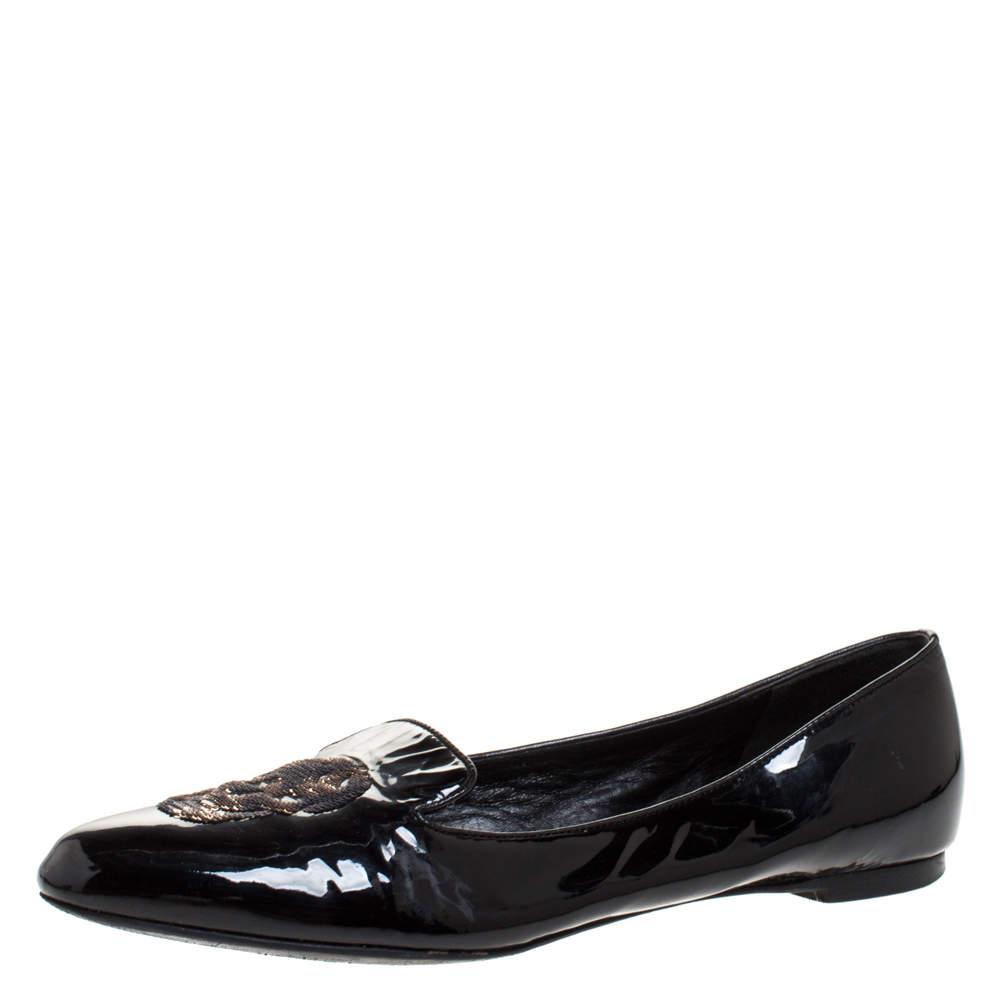 Alexander McQueen Black Patent Leather Sequins Skull Ballet Flats Size 39