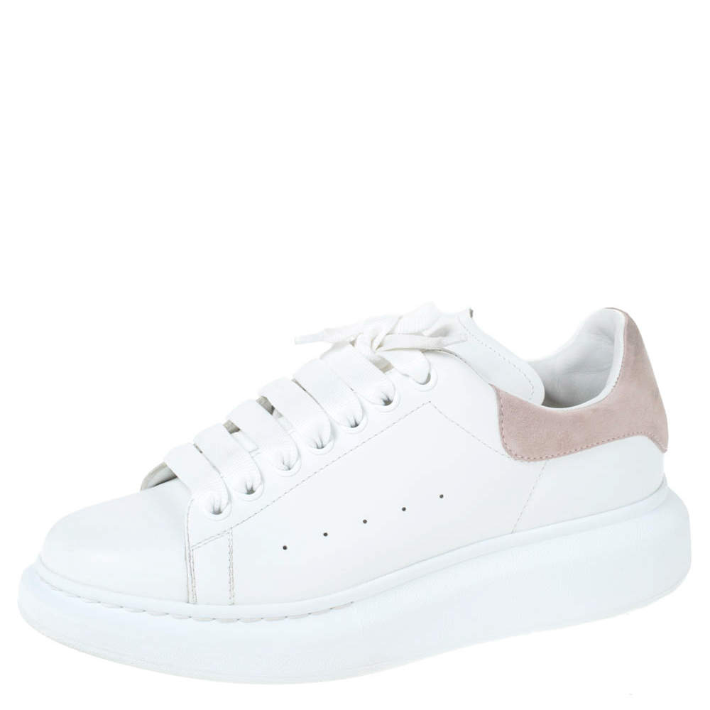 Alexander McQueen White Leather And Pink Suede Platform Sneakers Size 41