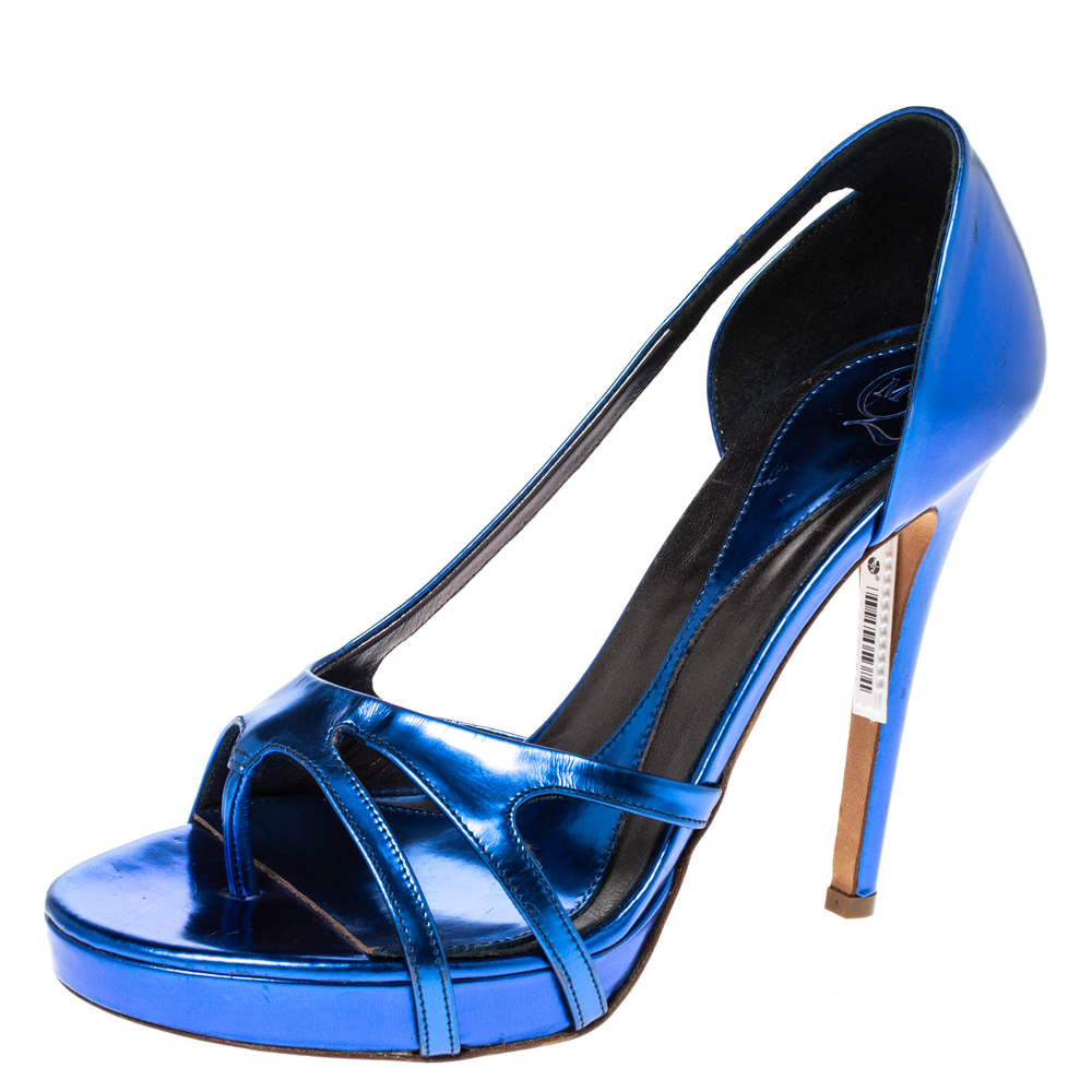 Alexander McQueen Metallic Blue Leather Sandals Size 40