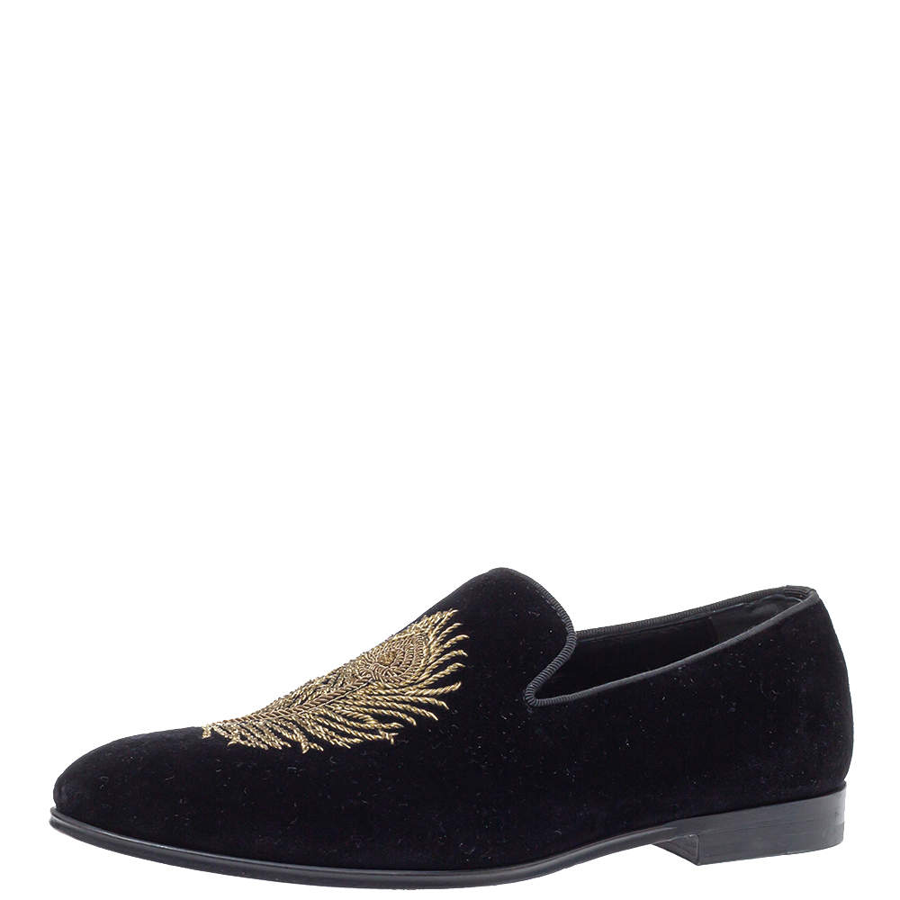 Alexander McQueen Black Velvet Feather Embroidered Smoking Slippers Size 40