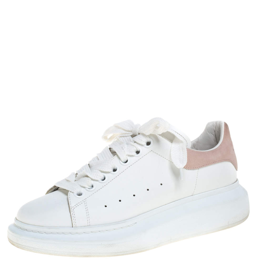 Alexander McQueen White/Pink Leather and Suede Larry Low Top Sneakers Size 39.5