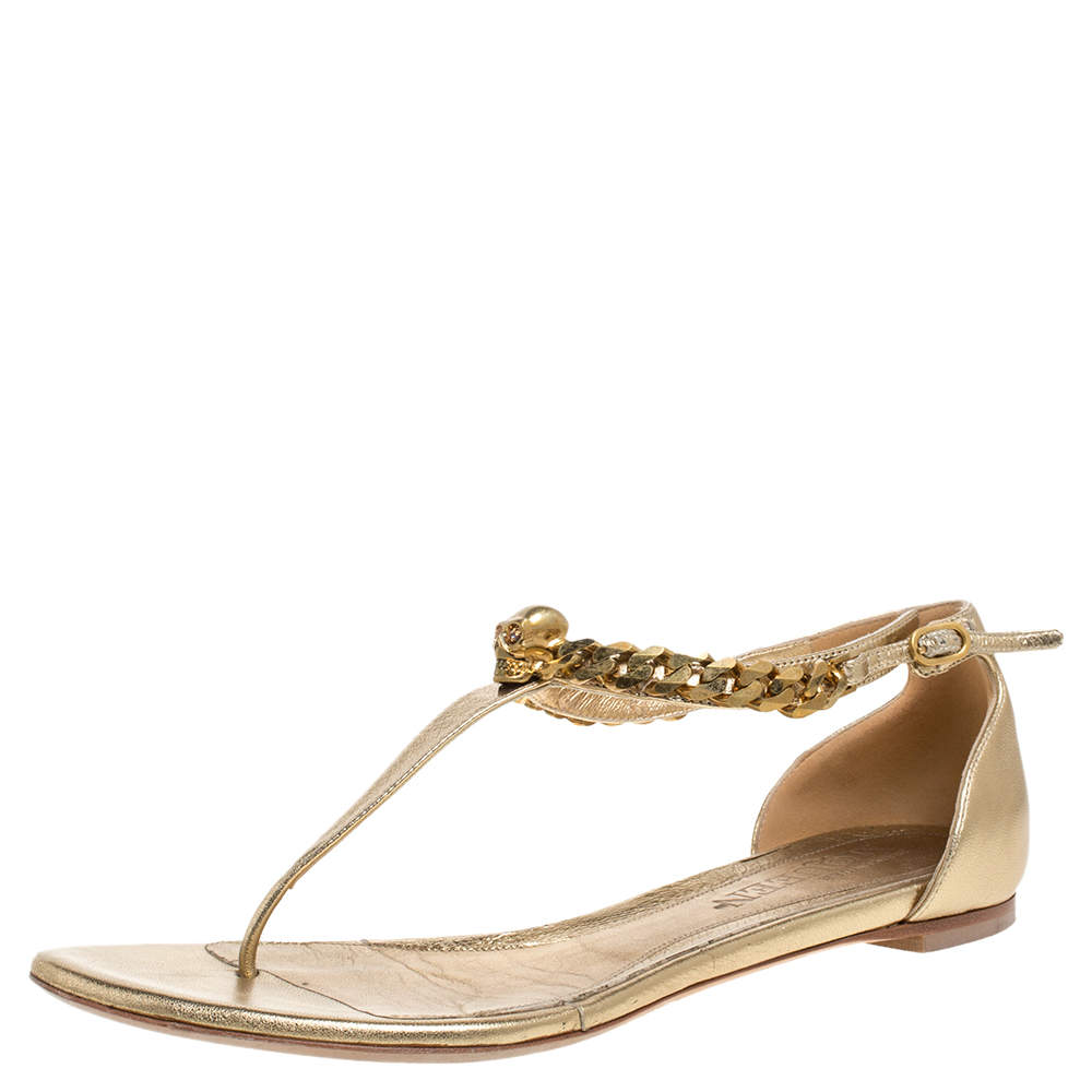 Alexander McQueen Gold Leather Skull Chain Thong Flat Sandals Size 39