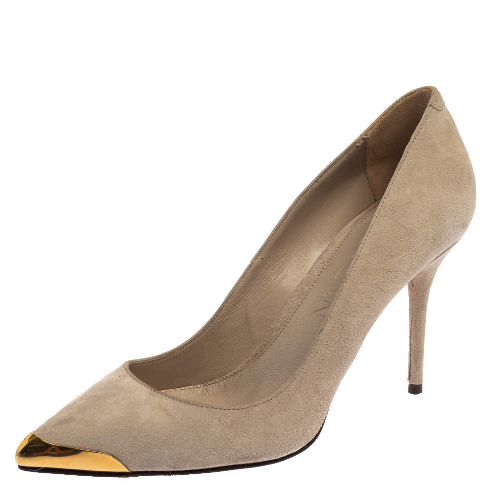 Alexander McQueen Beige Suede Leather Embellished Pointed Toe Pumps Size 37.5