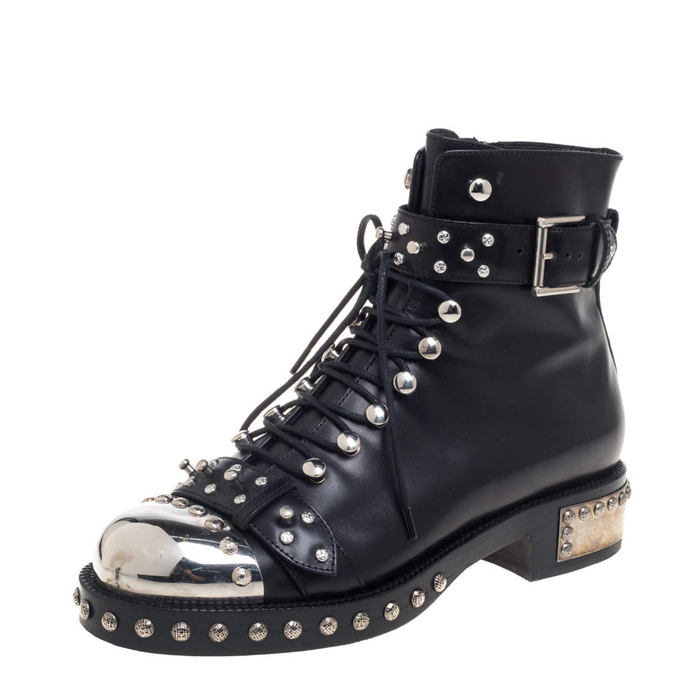 Alexander McQueen Black Leather Pelles Cuoio  Boots Size 39
