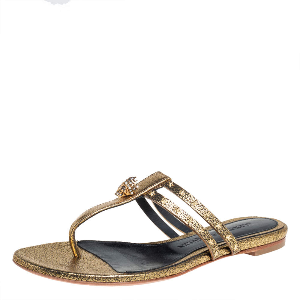 Alexander McQueen Metallic Gold Leather Embellished Skull Thong Flat Sandals Size 37.5