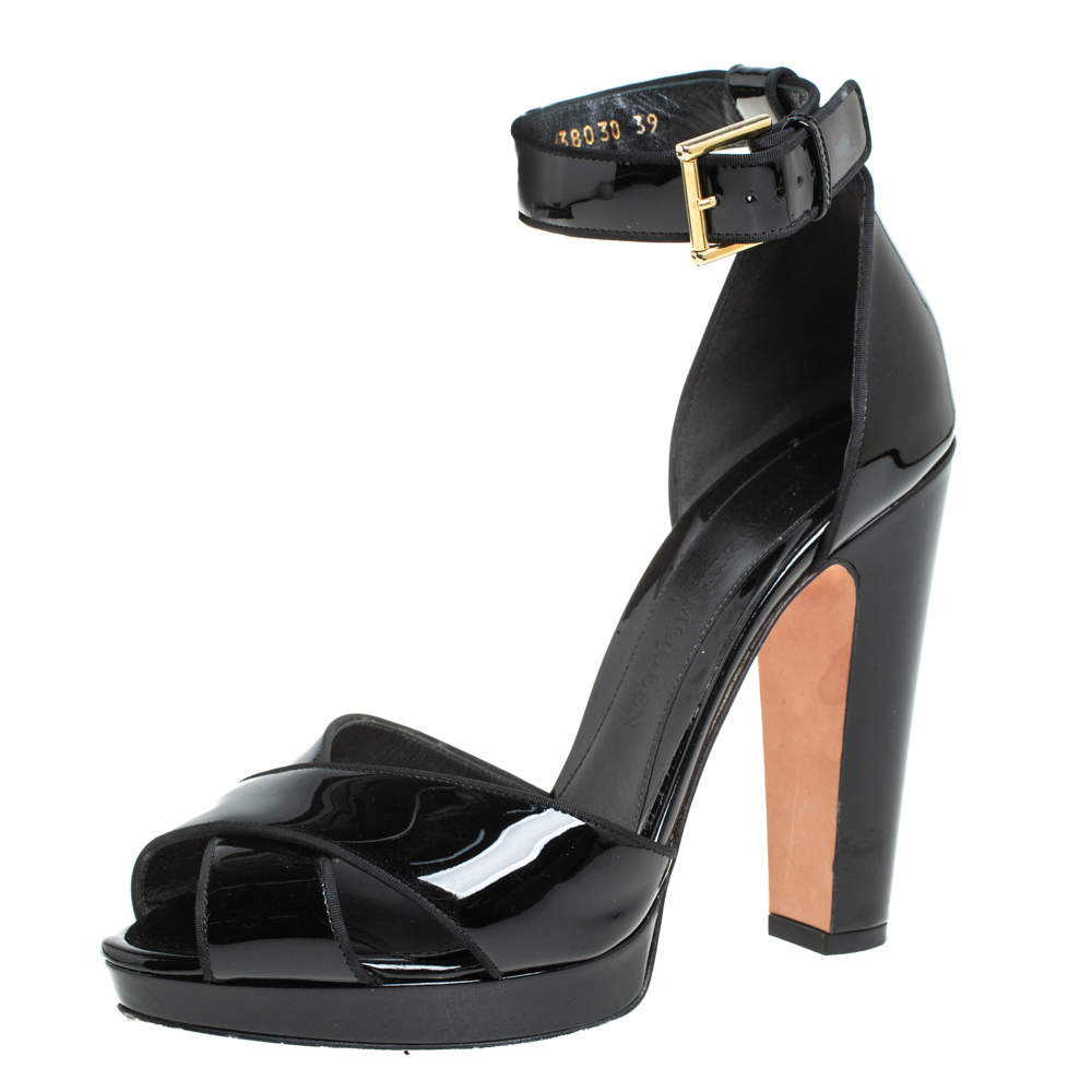 Alexander McQueen Black Patent Leather Ankle Strap Sandals Size 39