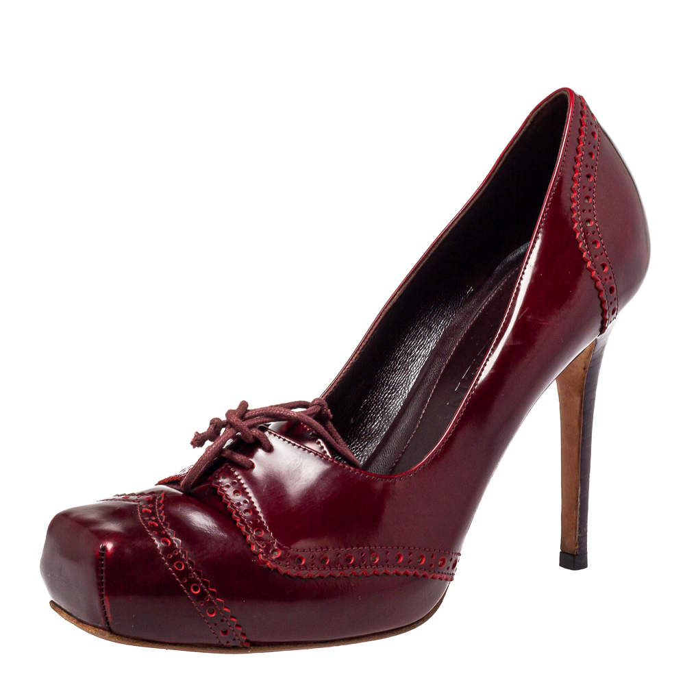 Alexander McQueen Burgundy Leather Brogue Lace Up Detail Square Toe Pumps Size 38.5