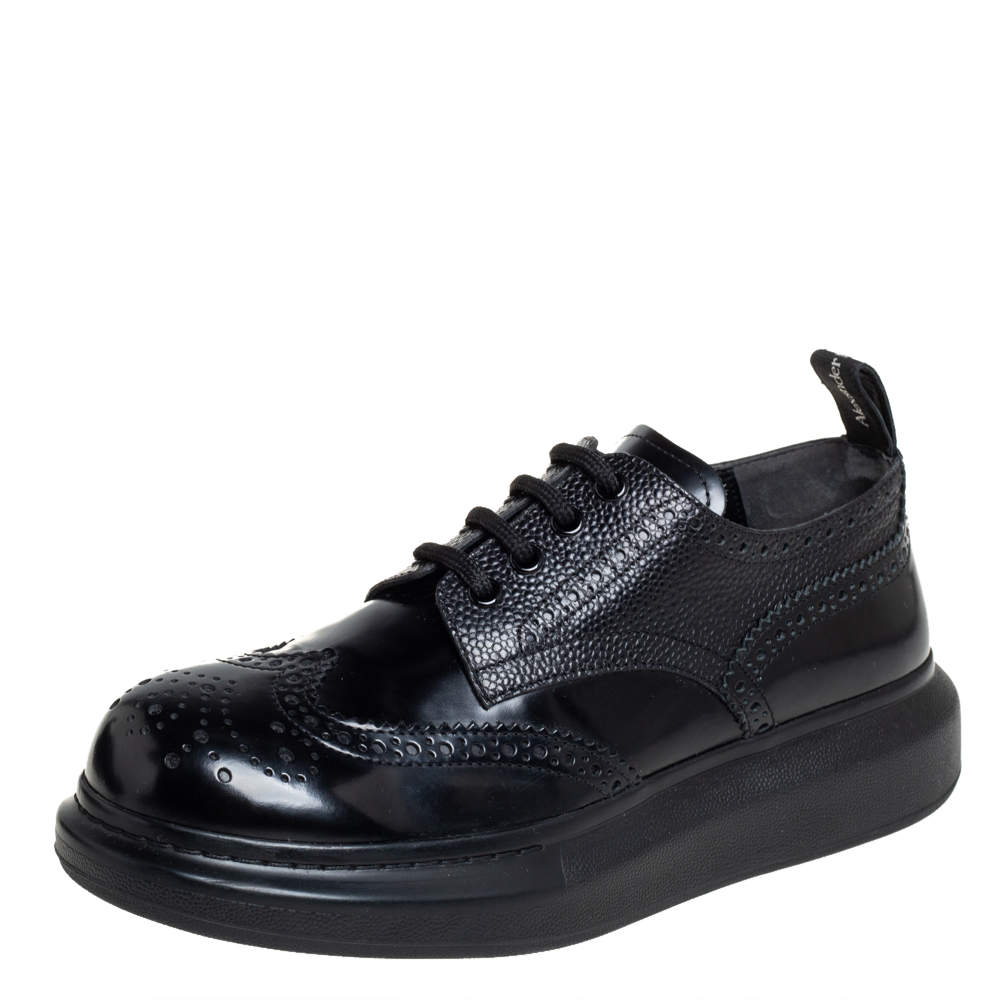 Alexander McQueen Black Brogue Leather Oversized Low Top Sneakers Size 40