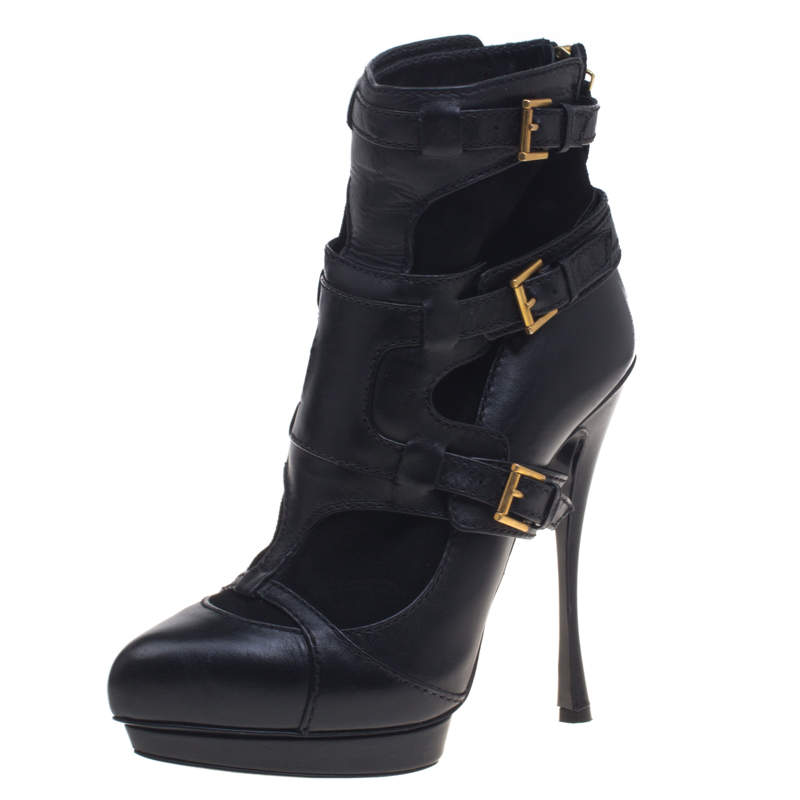 Alexander Mcqueen Black Leather and Suede Buckle Detail Ankle Boots Size 38