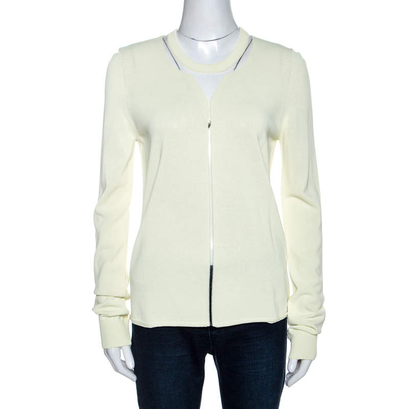 Alexander Wang Highlighter Yellow Knit Sheer Paneled Pullover L