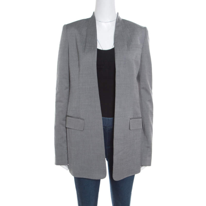 Alexander Wang Grey Velvet Cropped Back Detail Open Front Blazer S