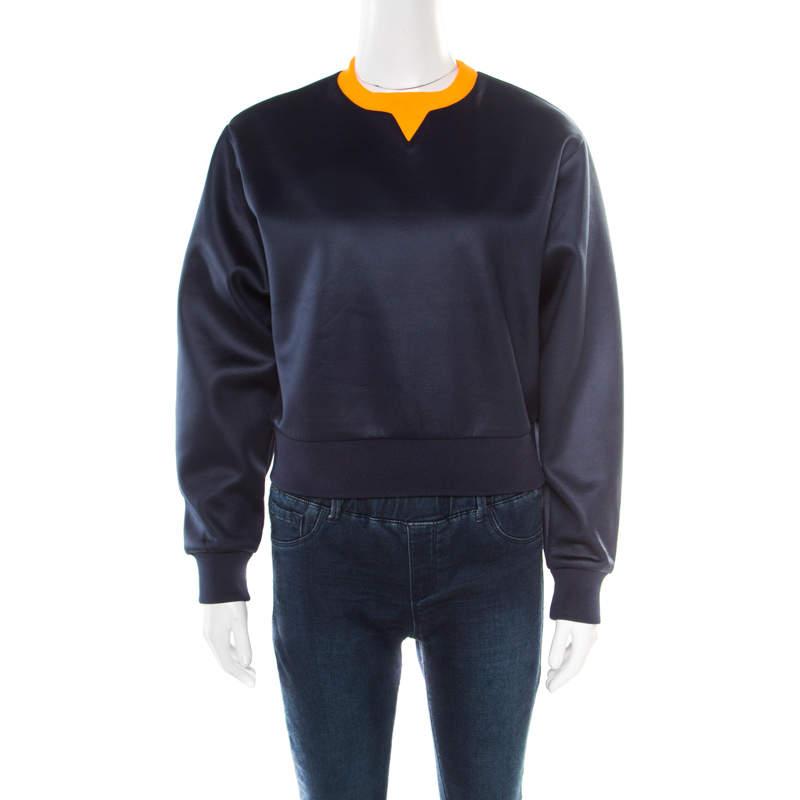 T By Alexander Wang Navy Blue Neoprene Fleece Lined Oversized Cropped Sweatshirt XS