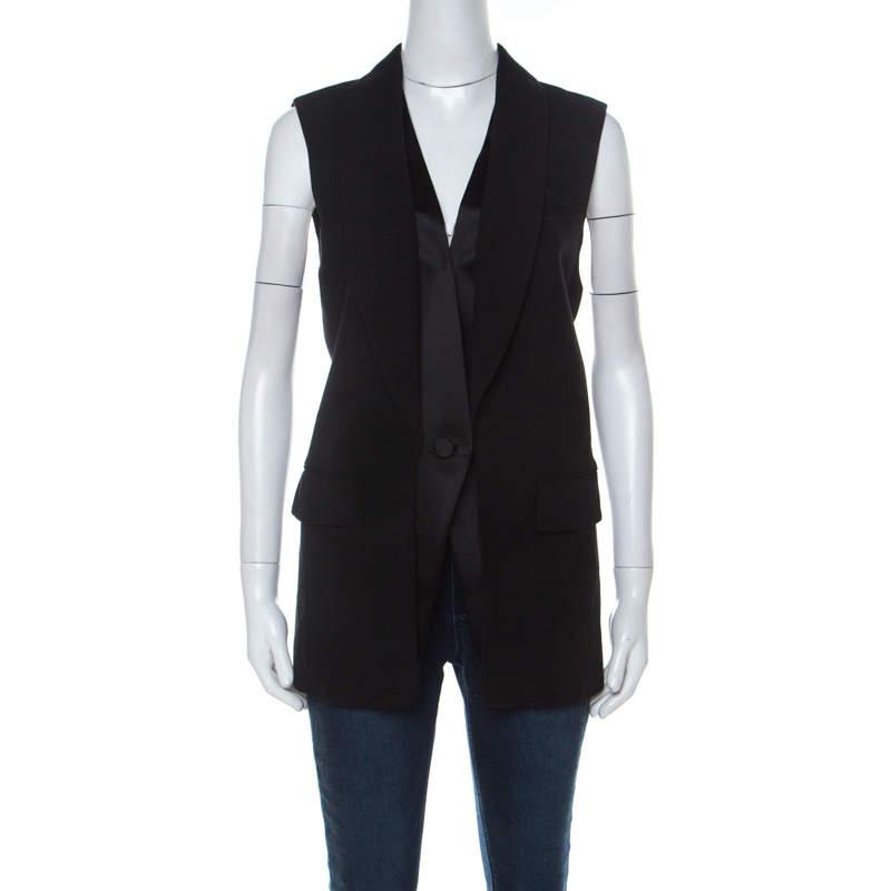 Alexander Wang Black Wool Blend Satin Detail Sleeveless Jacket M