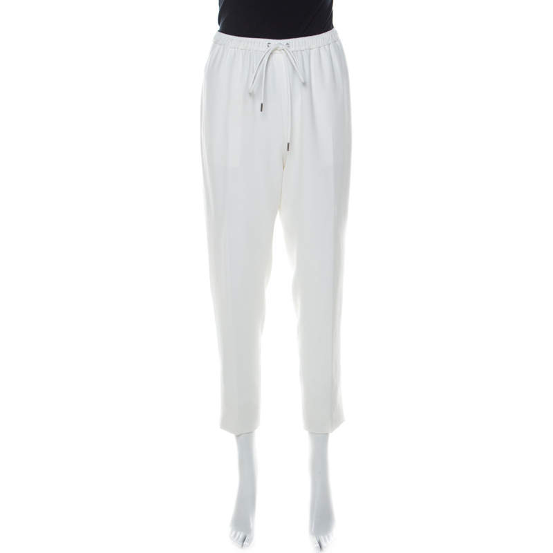 Alexander Wang White Crepe Drawstring Detail Tapered Trousers M