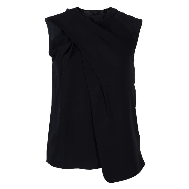 Alexander Wang Black Asymmetric Pleat Detail Sleeveless Top XS