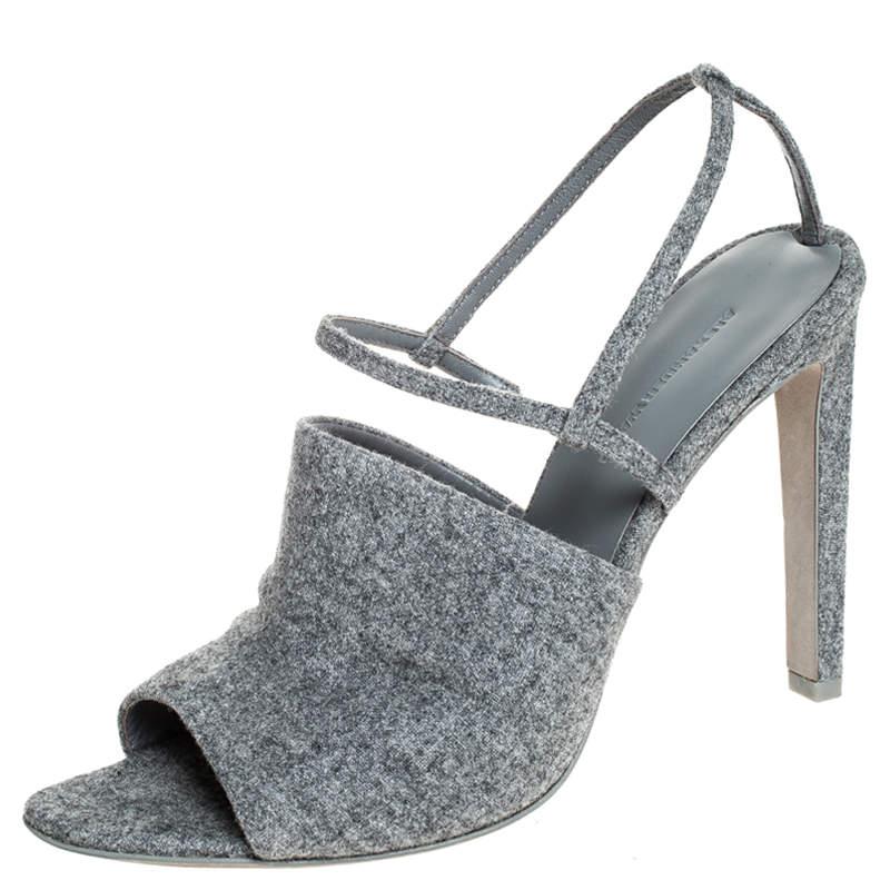 Alexander Wang Grey Wool Fabric Maryna Peep Toe Slingback Sandals Size 38