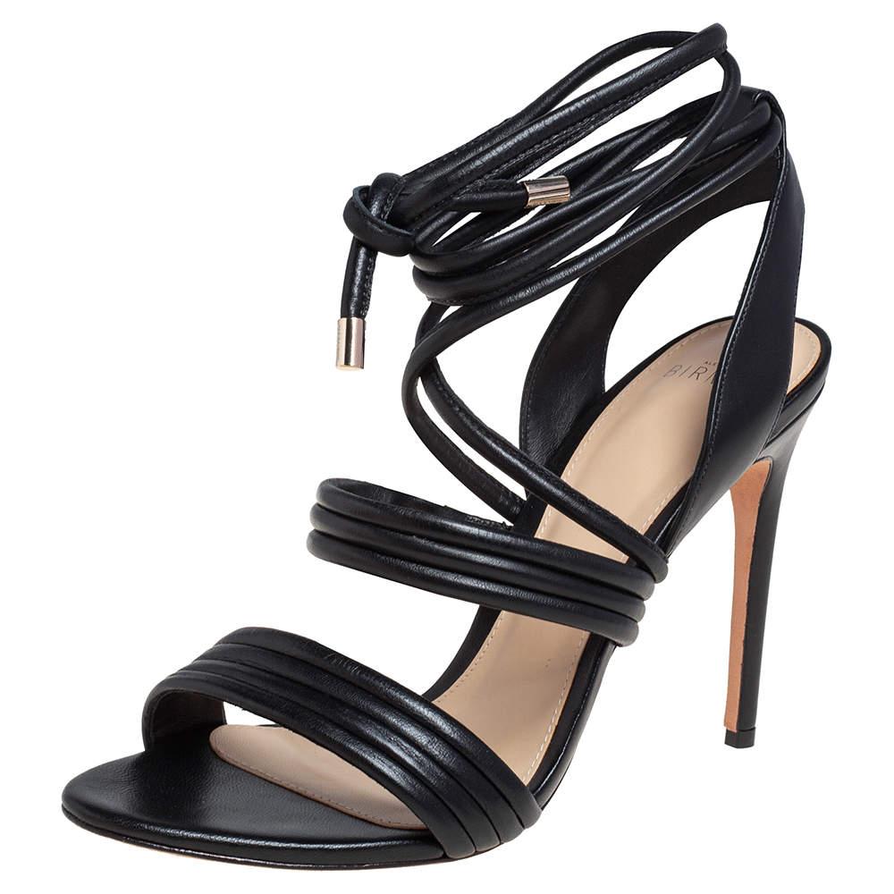 Alexandre Birman Black Leather Aurora Ankle Wrap Sandals Size 39