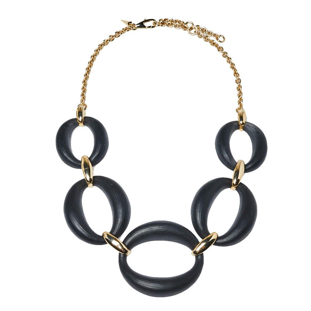 Alexix Bittar Lucite Gold Tone Large Link Necklace