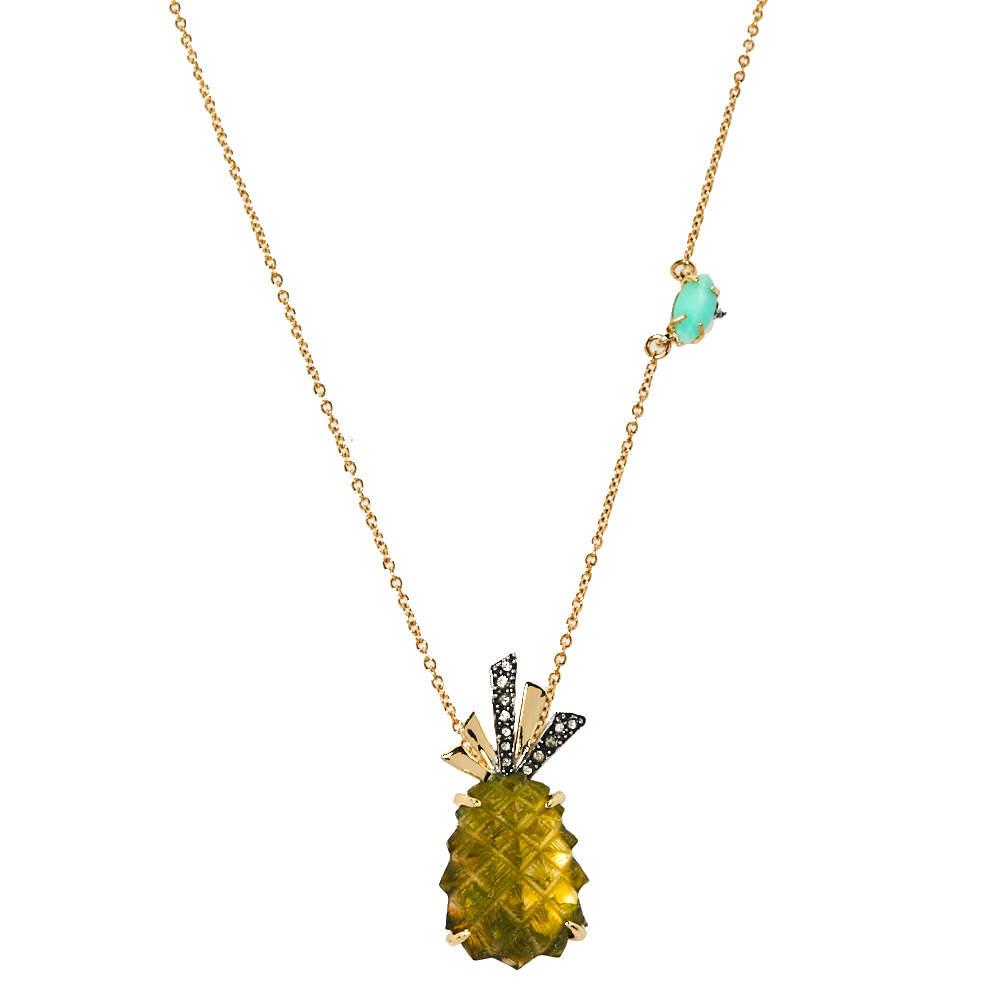 Alexis Bittar Pineapple Motif Gold Tone Pendant Necklace