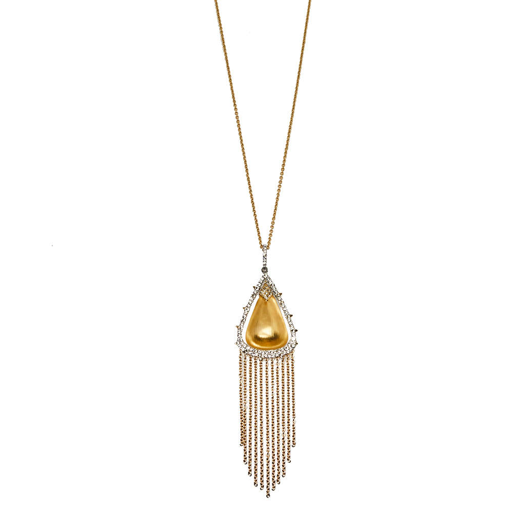 Alexis Bittar Crystal Embellished Gold Tone Long Tassel Pendant Necklace