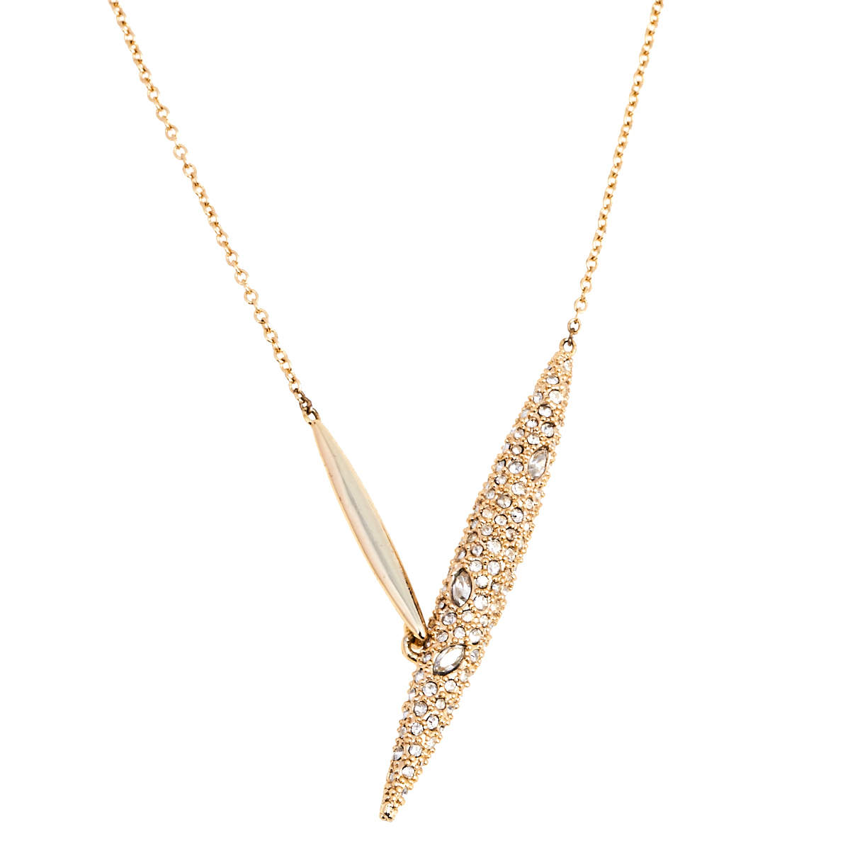 Alexis Bittar Gold Plated Crystal Encrusted Pendant Neckalce