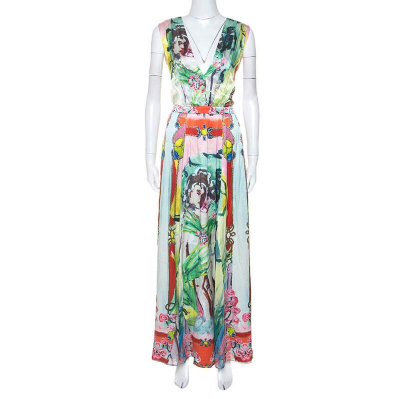Alice + Olivia Multicolor Printed Silk Lola Lady Maxi Dress M