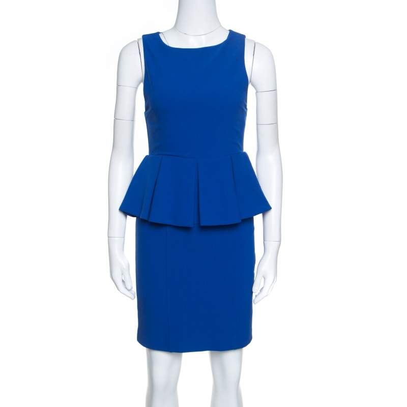Alice + Olivia June Cobalt Blue Sleeveless Peplum Dress S