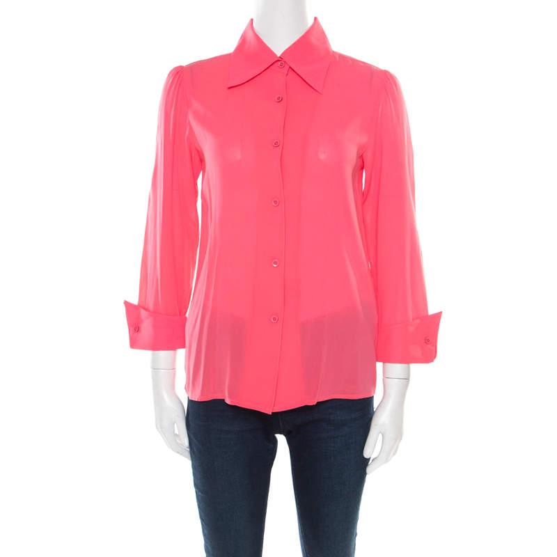 Alice + Olivia Neon Pink Silk Long Sleeve Shirt XS