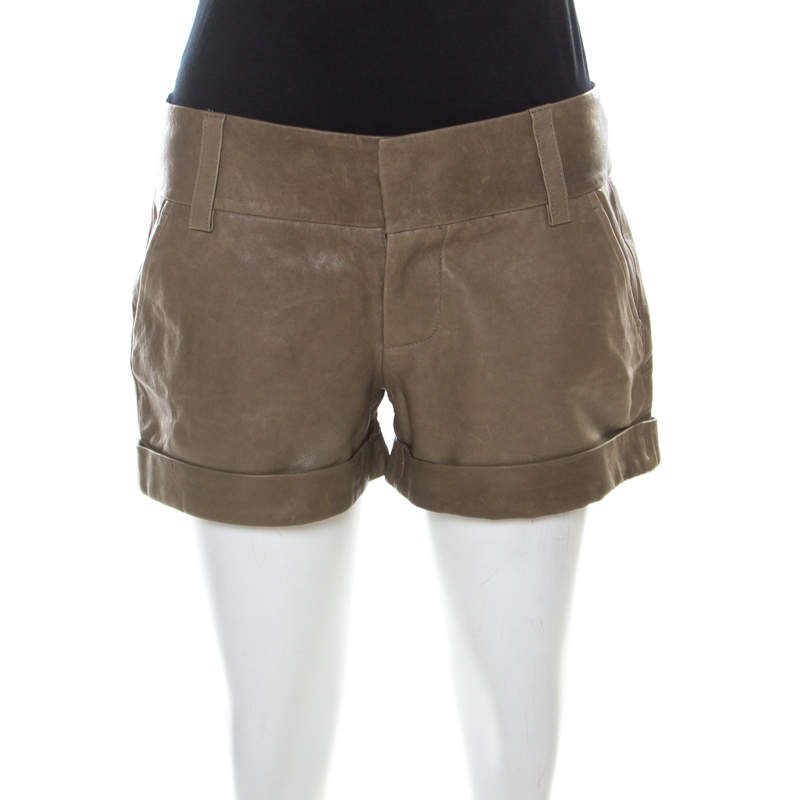 Alice + Olivia Taupe Green Leather Cuffed Shorts S
