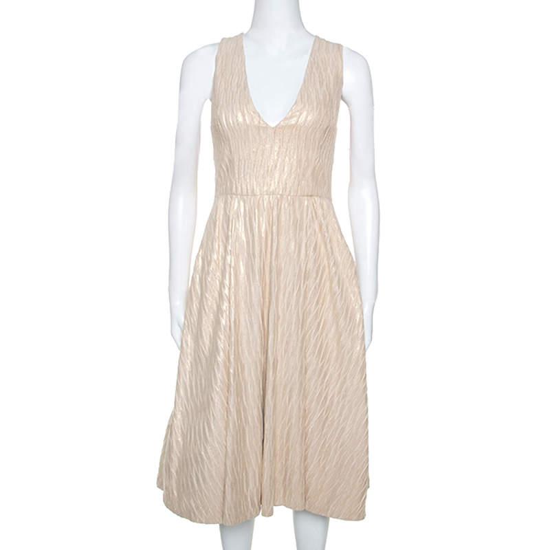 Alice + Olivia Cream & Gold Textured Knit Mindee Dress S