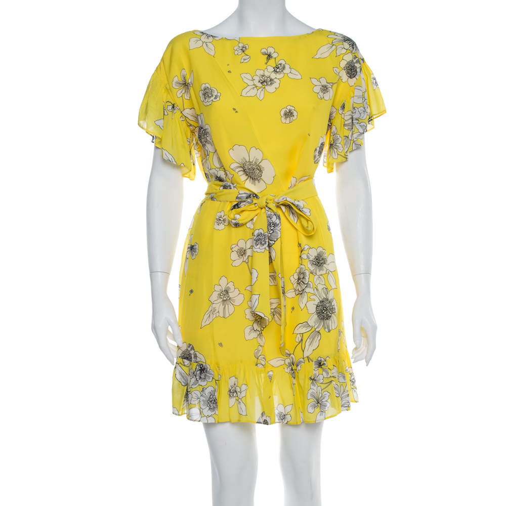 Alice + Olivia Yellow Floral Print Chiffon Ruffled Ellamae Dress XS