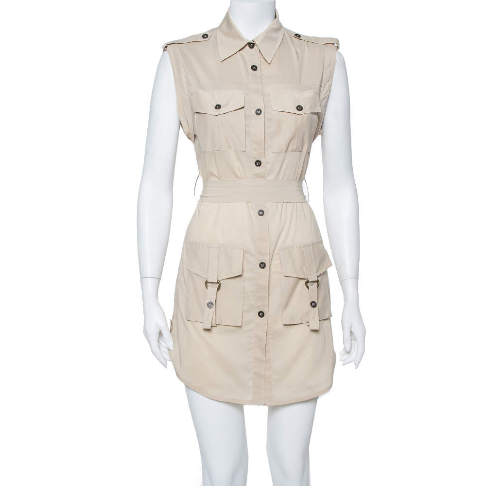 Alice + Olivia Beige Cotton Harper Safari Dress S