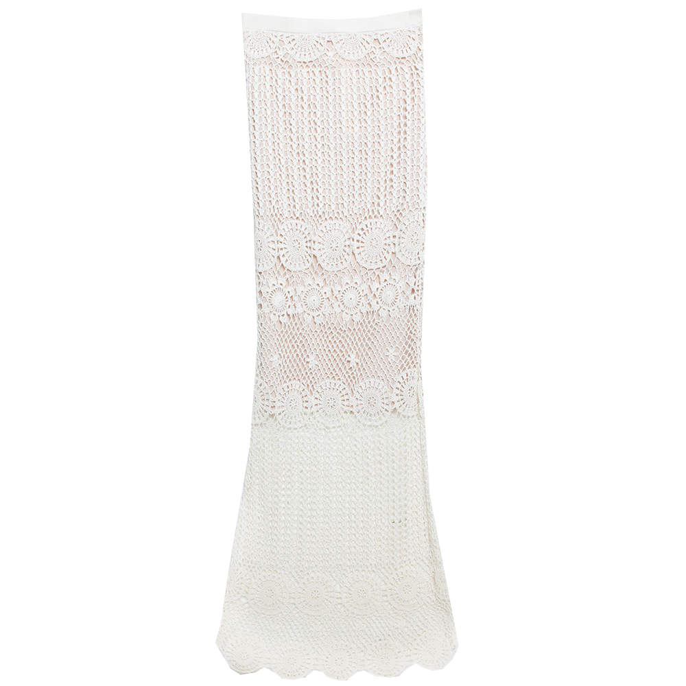 Alice + Olivia Cream Crochet Nude Lining Detail Maxi Skirt XS