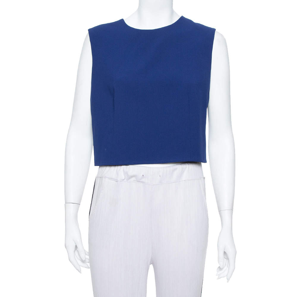 Alice + Olivia Blue Crepe Sleeveless Klynn Crop Top L