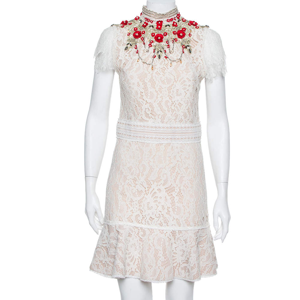 Alice + Olivia Cream Lace Embellished Fit & Flare Francine Mini Dress M