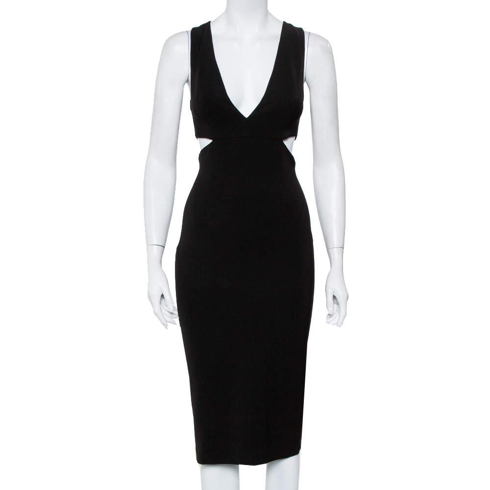Alice + Olivia Black Crepe Cutout Detail Plunge Neck Riki Midi Dress XS