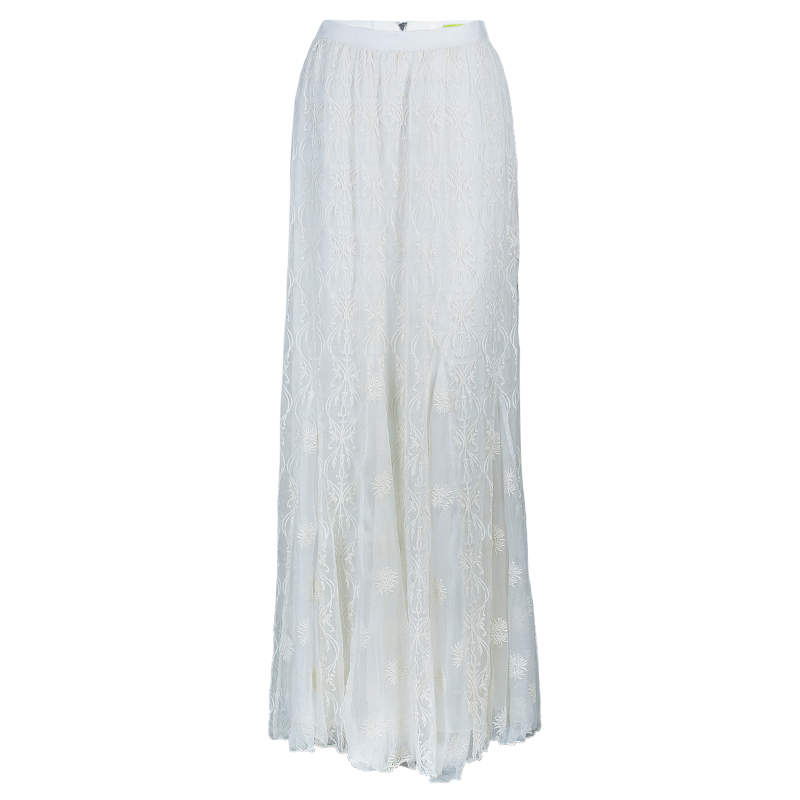 Alice + Olivia Louie Cream Lace Maxi Skirt M