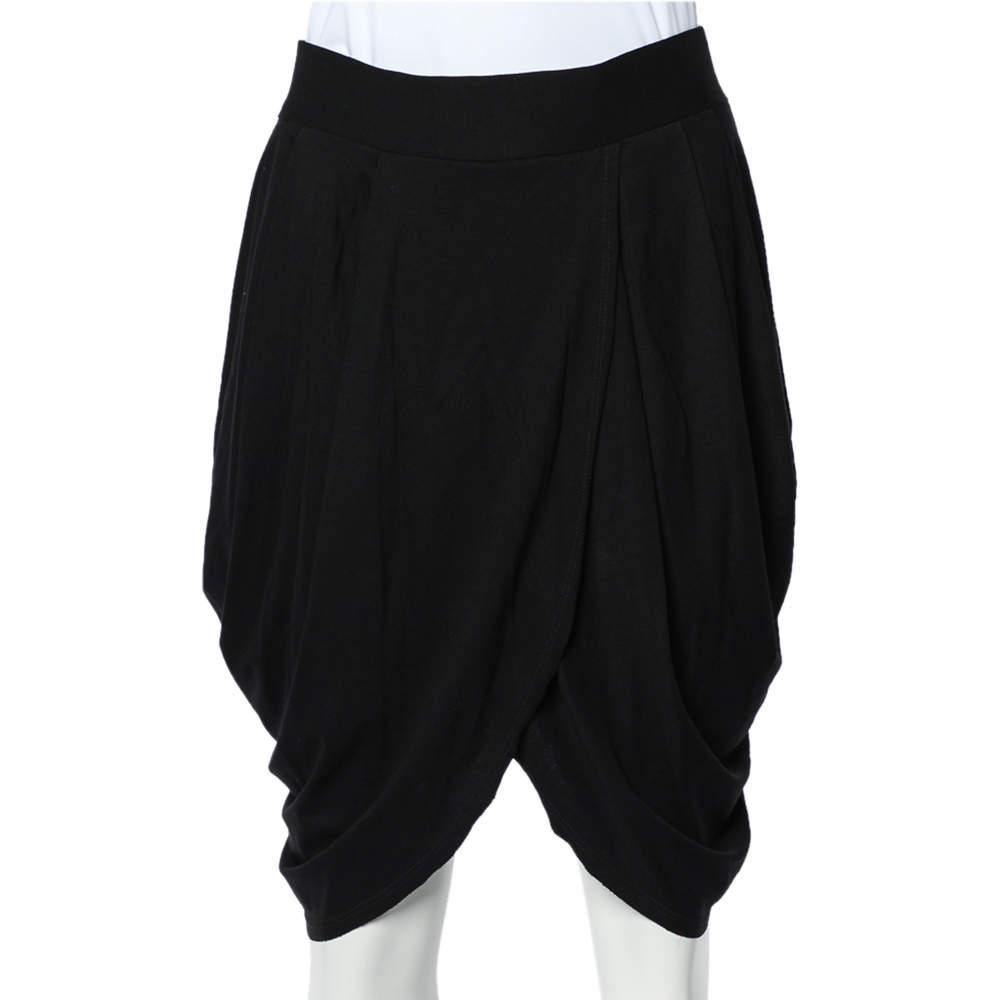 Alice + Olivia Black Jersey Tulip Draped Skirt M