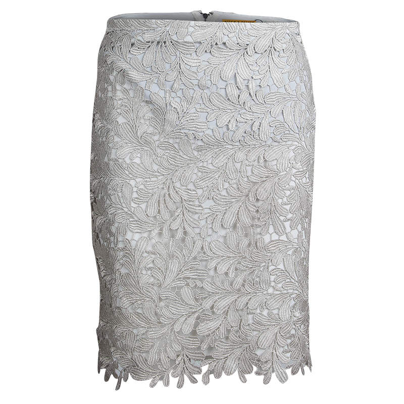 Alice + Olivia Silver Lace Overlay Skirt S