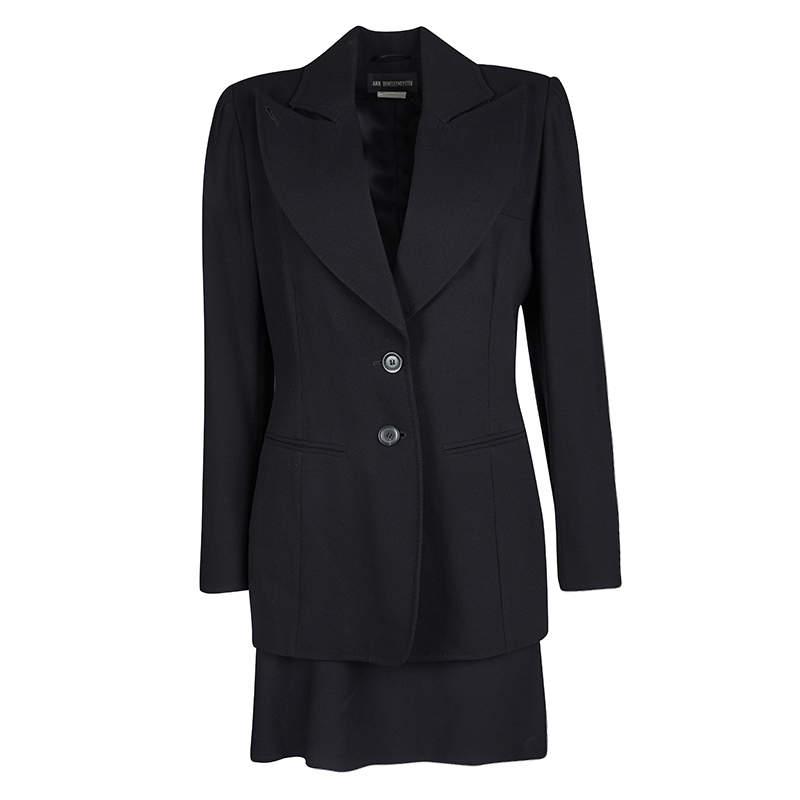 Ann Demeulemeester Black Textured Wool Blazer and Skirt Set M