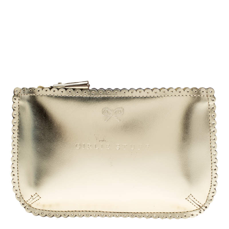 Anya Hindmarch Gold Leather Loose Pocket Girlie Stuff Pouch