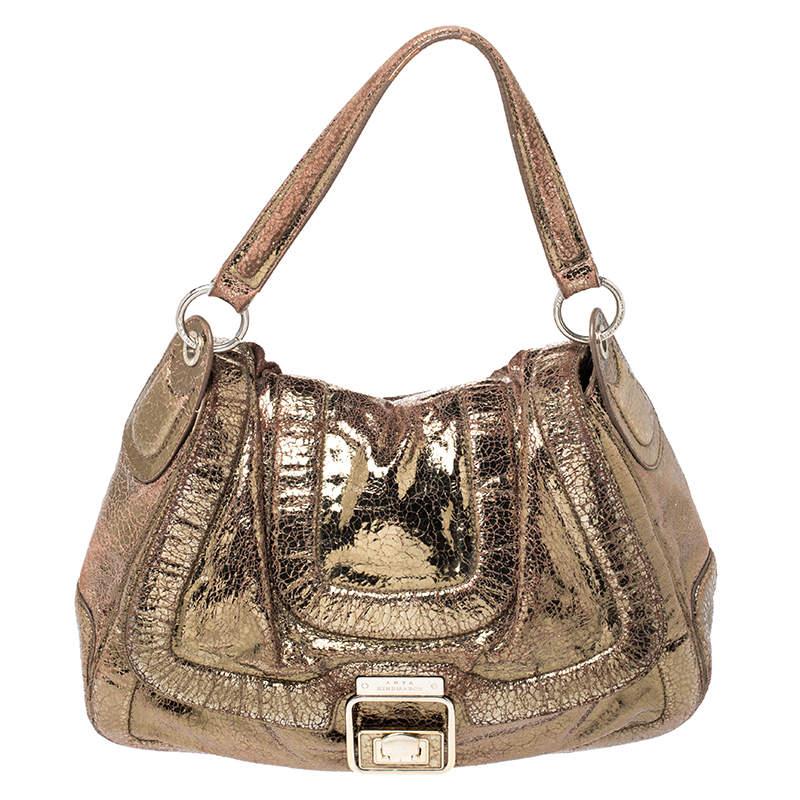 Anya Hindmarch Gold Laminated Suede Crackle Effect Flap Buckle Shoulder Bag